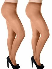 2 packs Women Sheer 20 Denier Lycra Tights PLUS SIZES (UK 16-22) by Aurellie