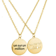 "Lux Accessories Goldtone ""Un Sur Un Million"" Charm Necklace Set (2PC)"