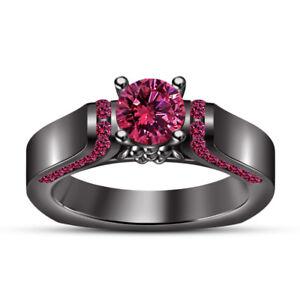 14K Black Gold Finish 1.30 CT Round Pink Sapphire Ladies Engagement Wedding Ring