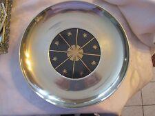 "Vintage silver colored serving tray 11"" wide - 5"" wide blue center design Deblot"