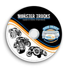 MONSTER TRUCKS CLIPART-VECTOR CLIP ART-VINYL CUTTER PLOTTER+T-SHIRT GRAPHICS CD