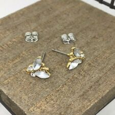 White Butterfly Crystal Titanium Post Stud Earrings US Seller Made in Korea