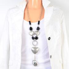 Halskette Statement Lang Farbe Silber Bettelkette Collier Herz Peace Elefant NEU