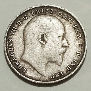 SILVER 1907 Britain 🇬🇧 3 Pence NICE GRADE King Edward VII Antique British Coin