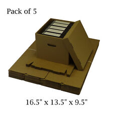 "5 x Filing Archive Storage Boxes With Carrying Handels 16.5"" x 13.5"" x 9.5"""