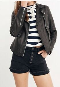 Madewell Washed Leather Jacket Black Size XS
