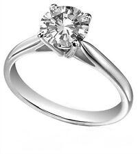 Diamond-Unique Solid Silver Rhodium platinum Engagement Ring 1ct & 1/2 ct