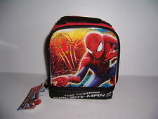 THE AMAZING SPIDER-MAN 2 DUEL COMPARTMENT BOYS INSULATED LUNCH BAG BOX NWT