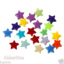 200 x 6mm Mixed Acrylic Stars Beads - COLOURFUL Brights Small Stars - PB9