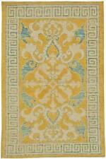 Traditional Oriental Inspired Yellow, Beige and Turquoise Wool Rug N11159