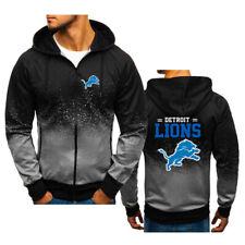 Detroit Lions Football Hoodie Gradient Zipper Sweatshirt Hooded Sport 3D Jacket