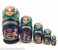 Russian Fairy Tale Firebird Nesting DOLL Hand Carved Hand Painted Babushka doll
