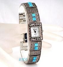 Silver Deco Vintage Genuine Marcasite Turquoise Semi Precious Gem Bracelet Watch