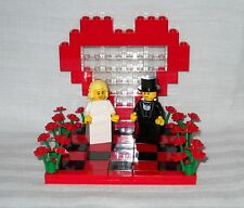 LEGO CUSTOM HEART & FLOWERS RED & BLACK WEDDING CAKE TOPPER & BRIDE AND GROOM