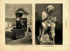 An American Locomotive Engine and Cow Catcher - Railroad - Train - 1873