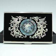 Mother of Pearl Phoenix Design Name Mens Business Credit Metal Card Holder Case