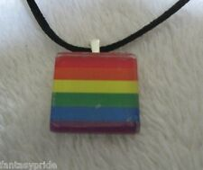 "18"" Necklace on black cord - New Gay Pride Unisex Glass Rainbow flag Pendant"
