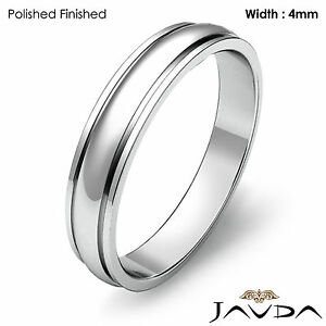 Men Solid Wedding Band Platinum Dome Step Plain Matte Ring 4mm 6.4gm 11-11.75
