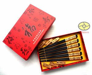SET 6 Pairs Chopsticks/Rests/Gift Box wood Pyrograph Carved Chinese Bamboo style