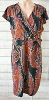 Teaberry Pencil Stretch Dress Size 16 Black Red Blue Paisley Shortsleeve