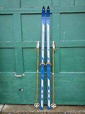 """VINTAGE Wooden 74"""" Skis Has  Blue Finish Signed RANDONNEE + Bamboo Poles"""