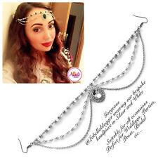 Hijab Pin Wedding Bridal Tikka Cheveux Bracelet Bijoux Tête Pièce Argent Blanc