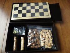 "Wood Chess Set &Backgammon w/ 10""Lx5 1/8""W Folding Board 1 1/8"" Square 2.5"" King"