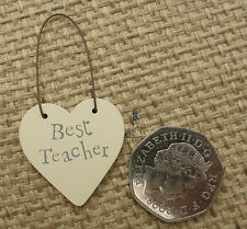 East of India Little Heart Sign Gift Tags Wood Cute Best Teacher
