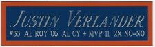JUSTIN VERLANDER DETROIT TIGERS NAMEPLATE FOR AUTOGRAPHED Signed BASEBALL JERSEY