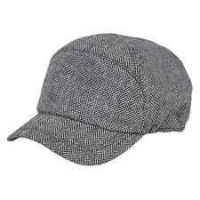 Heritage Traditions Womens Mens Black White Herringbone Tweed Skip Cap Hat