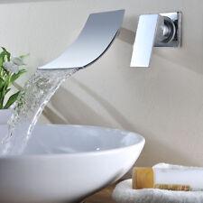 2PCs Wall Mount Chrome Brass Baisn Tub Mixer Faucet Waterfall Spary Taps