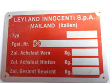 TARGHETTA Id-Plate Leyland Innocenti Milano scudo de TOMASO MINI s10 ROSSO