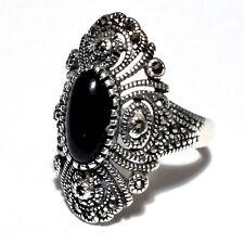 Authentisch Türkische massiv 925 Sterling Silber Damen Ring schwarzer Onyx