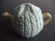 TEA COSY - HAND KNITTED & SUITABLE FOR SMALL 1 to 2 CUP TEAPOTS - PALE GREEN