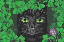 4X6 PRINT OF PAINTING RYTA ST PATRICKS DAY ART BLACK CAT SPRING FLOWER GUINEVERE