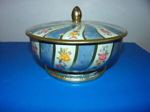 Vintage Footed Floral Tin Container with Lid