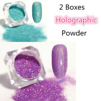 2Boxes Holographic Nail Glitter Powder Dust Holo Laser Manicure Tips Blue Pink