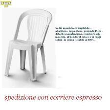 """6 SEDIE IN PLASTICA GIARDINO SENZA BRACCIOLI - COLORE BIANCA  modello """"MATILDE"""""""
