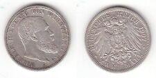 2 Mark Silber Münze Württemberg König Wilhelm II 1907 F (113028)