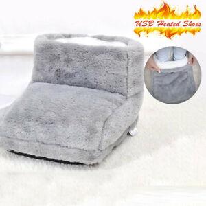 USB Electric Foot Warmer Grey Heating Pad Feet Heating Boot Heater Shoes Plush
