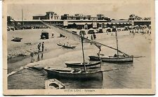 1932 Ostia Lido Spiaggia barche  bagnanti Guller destinaz. Lucca FP B/N VG ANIM