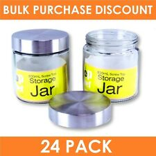 24 x ROUND GLASS JAR with Silver Lid | 830ml | Multi Purpose Storage Canister