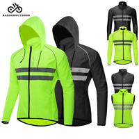 Men's Cycling Jacket Hooded Wind Coat Long Sleeve Sleeveless Jersey MTB Bike Top