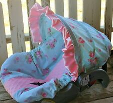 baby infant car seat cover and hood cover in aqua polka dots w/flowers baby pink