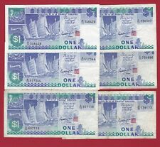 SINGAPORE 1987 1 DOLLAR LOT OF 6 NOTES