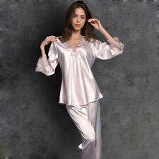 Womens Pyjamas Set Satin Loungewear Long Sleeve Sleepwear Nightgown Thin Summer