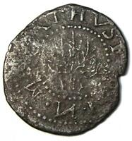 1652 Massachusetts Oak Tree Sixpence Coin (6P, 6Pence) - VF Details (Corrosion)