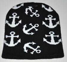 Anchor Black & White Stocking Hat Beanie Soft Adult Size New!!
