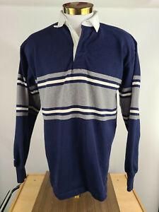 Barbarian Rugby Wear XL Shirt White Collar Heavy Rugged Cotton Navy Gray EUC