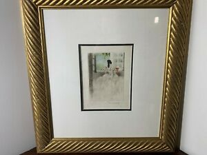 "Louis Icart ""Faraway Gaze"" Original Color Copperplate Etching Signed"